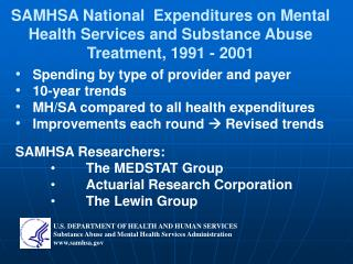SAMHSA National  Expenditures on Mental Health Services and Substance Abuse Treatment, 1991 - 2001