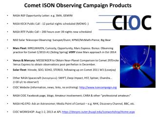 Comet ISON Observing Campaign Products