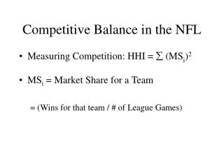 Competitive Balance in the NFL