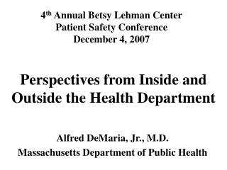 Perspectives from Inside and Outside the Health Department