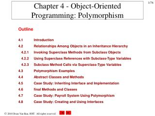Chapter 4 - Object-Oriented Programming: Polymorphism