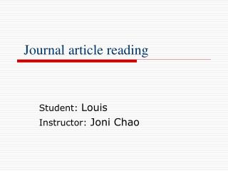 Journal article reading