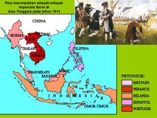 Peta menunjukkan wilayah-wilayah imperialis Barat di  Asia Tenggara pada tahun 1914