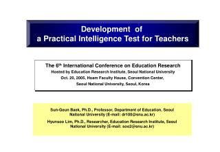 Development  of  a Practical Intelligence Test for Teachers