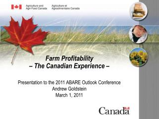 Presentation to the 2011 ABARE Outlook Conference Andrew Goldstein March 1, 2011
