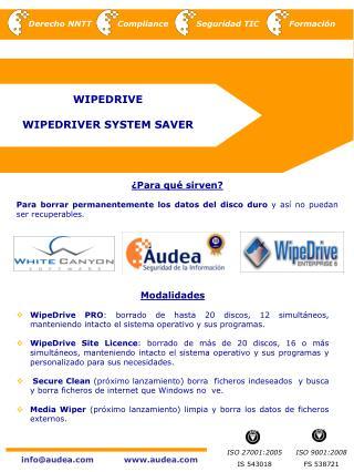 WIPEDRIVE  WIPEDRIVER SYSTEM SAVER