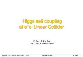 Higgs self coupling  at e + e -  Linear Collider