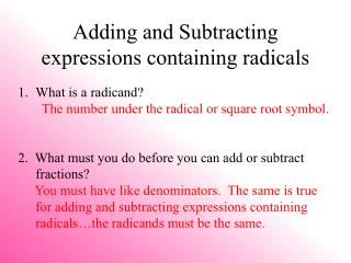 Adding and Subtracting expressions containing radicals