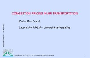 CONGESTION PRICING IN AIR TRANSPORTATION