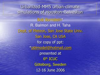 Urbanized-MM5 urban-climate  simulations of Houston-Galveston