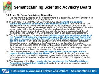 CA Article 10: Scientific Advisory Committee