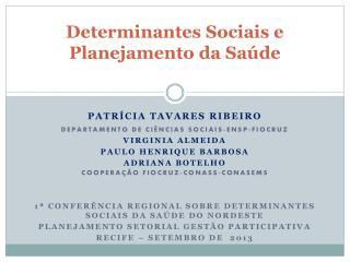 Determinantes Sociais e Planejamento da Sa�de