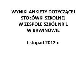 WYNIKI ANKIETY DOTYCZĄCEJ STOŁÓWKI SZKOLNEJ  W ZESPOLE SZKÓŁ NR 1  W BRWINOWIE listopad 2012 r.