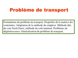Probl�me de transport
