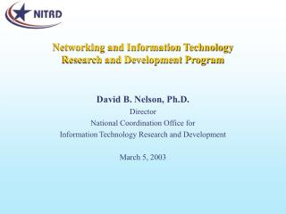 Networking and Information Technology  Research and Development Program