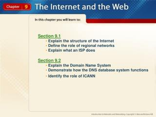 Section 9.1  Explain the structure of the Internet  Define the role of regional networks