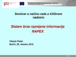 Seminar o načinu rada u tržišnom nadzoru