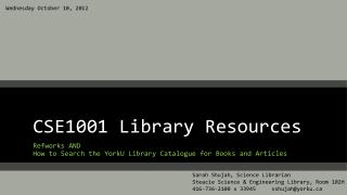 CSE1001 Library Resources