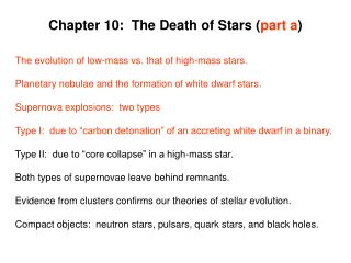 Chapter 10:  The Death of Stars ( part a )