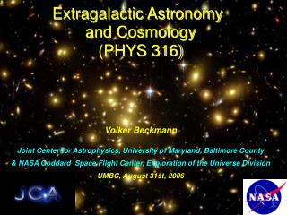 Extragalactic Astronomy  and Cosmology (PHYS 316)