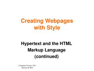 Creating Webpages  with Style