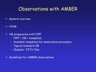 Observations with AMBER