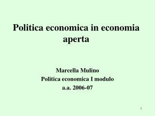 Politica economica in economia aperta