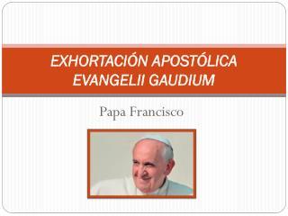 EXHORTACIÓN APOSTÓLICA  EVANGELII GAUDIUM