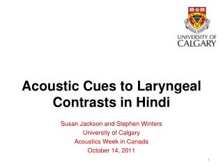 Acoustic Cues to Laryngeal Contrasts in Hindi