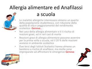 Allergia alimentare ed Anafilassi a scuola