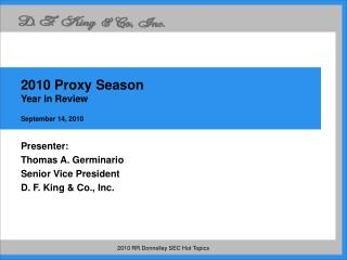 2010 Proxy Season  Year in Review September 14, 2010