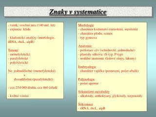 Znaky v systematice