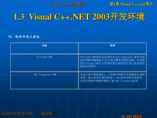 1.3  Visual C++.NET 2003 开发环境