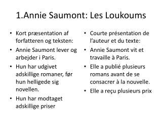 1.Annie Saumont: Les Loukoums