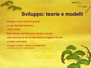 Sviluppo: teorie e modelli