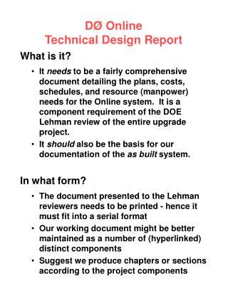 DØ Online Technical Design Report