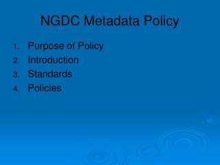NGDC Metadata Policy