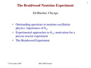 The Braidwood Neutrino Experiment