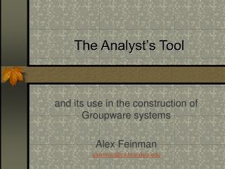 The Analyst�s Tool