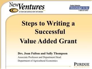 Steps to Writing a Successful  Value Added Grant