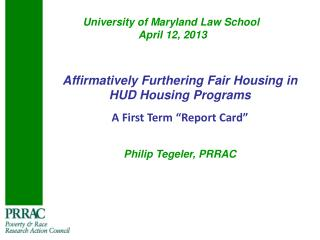University of Maryland Law School   April 12, 2013
