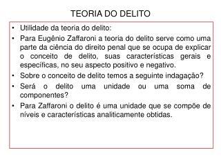 TEORIA DO DELITO