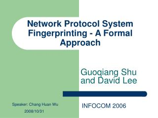Network Protocol System Fingerprinting - A Formal Approach