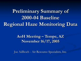 Joe Adlhoch - Air Resource Specialists, Inc.