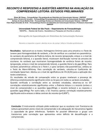 Monografia de Especialização em Distúrbios da Comunicação Humana