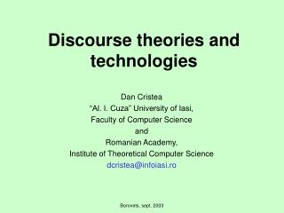 Discourse theories and technologies