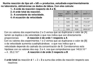 A  orde total  da reacción  é  1 + 2 =  3  a suma das ordes da reacción respecto aos reactivos