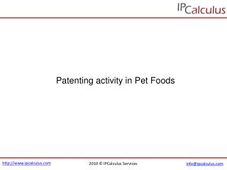 IPCalculus - Pet Foods Patenting Activity