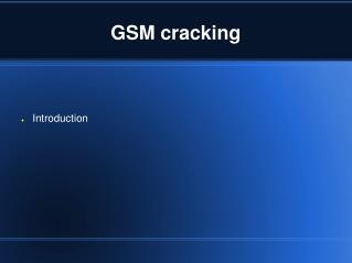 GSM cracking
