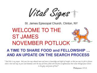 WELCOME TO THE  ST JAMES   NOVEMBER POTLUCK